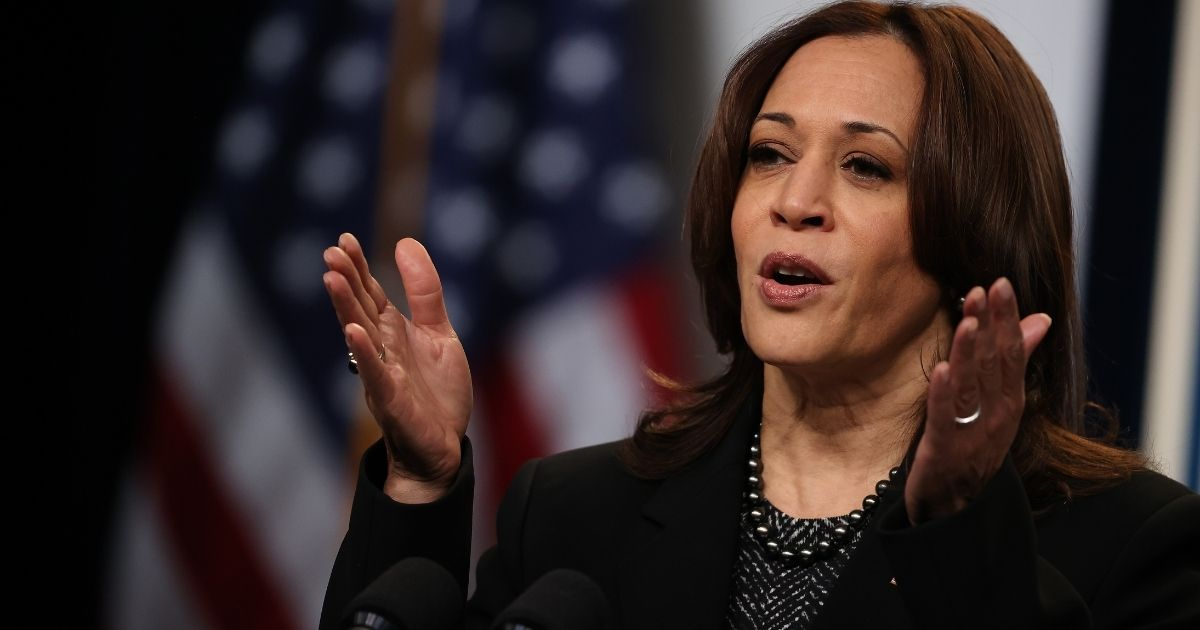 Vice President Kamala Harris addresses the National League of Cities' Congressional City Conference via video link from the Eisenhower Executive Office Building's East Court Auditorium on Monday in Washington, D.C.