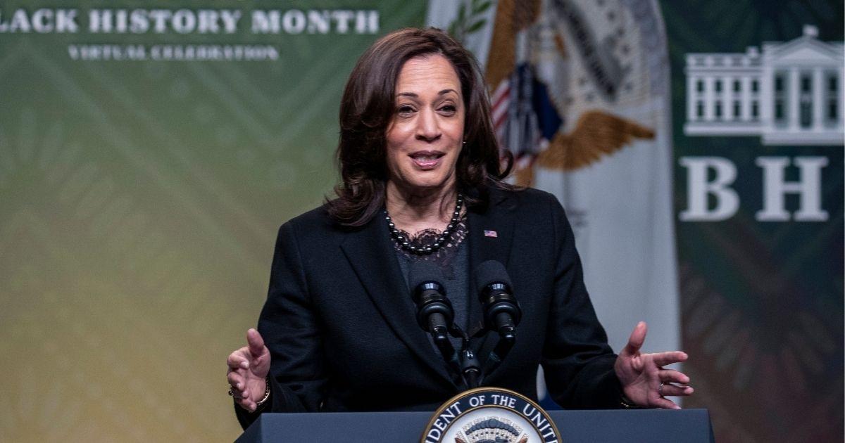 Vice President Kamala Harris speaks at the White House in Washington, D.C., on Saturday.