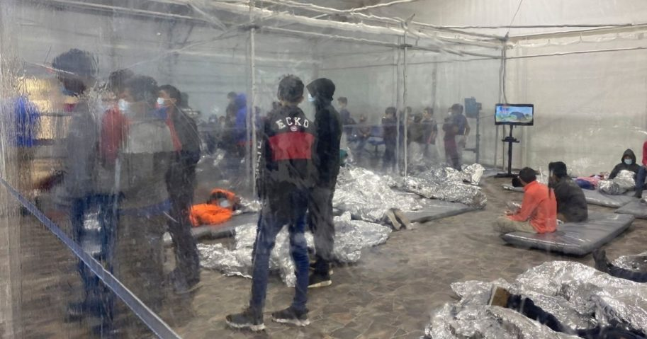 Migrants detained at a Customs and Border Protection overflow facility in Donna, Texas, are seen Saturday.