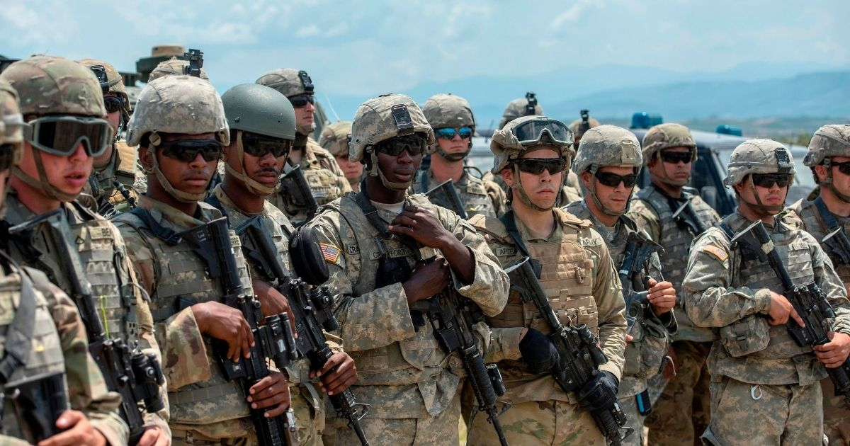 """Troops from the U.S. and its NATO allies take part in the """"Decisive Strike"""" military exercise at the Training Support Centre Krivolak, near Skopje, Macedonia, on June 17, 2019."""