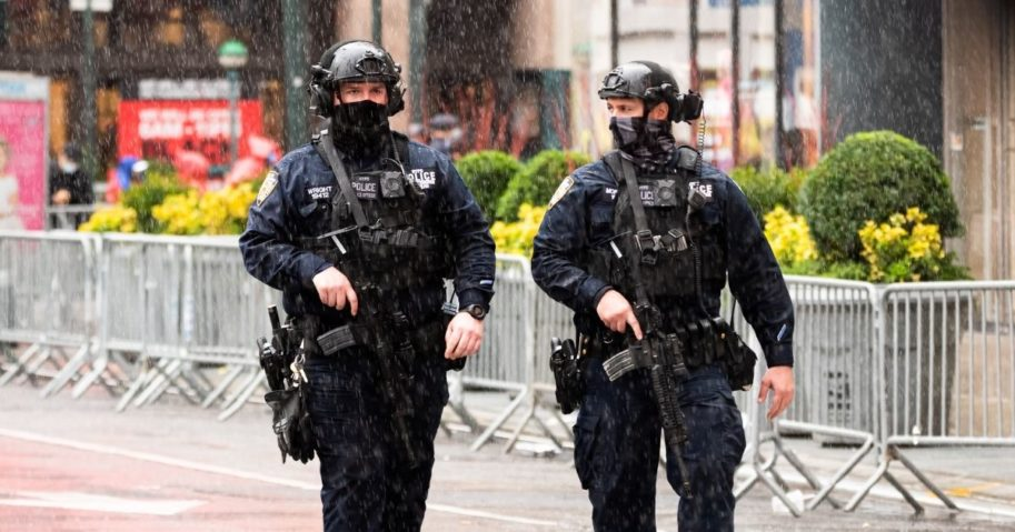 Members of the New York City Police Department Counterterrorism Bureau patrol the streets during the 94th Annual Macy's Thanksgiving Day Parade on Nov. 26, 2020, in New York City.