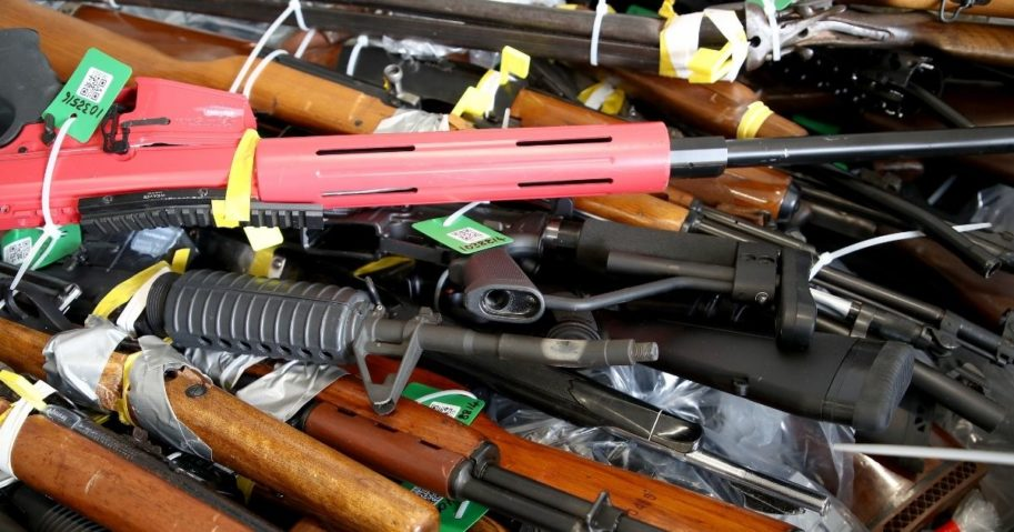 """Many firearms were removed from circulation as part of a gun """"buyback"""" program in New Zealand, as seen here at the Papakura Police Station in Auckland on Dec. 21, 2019."""