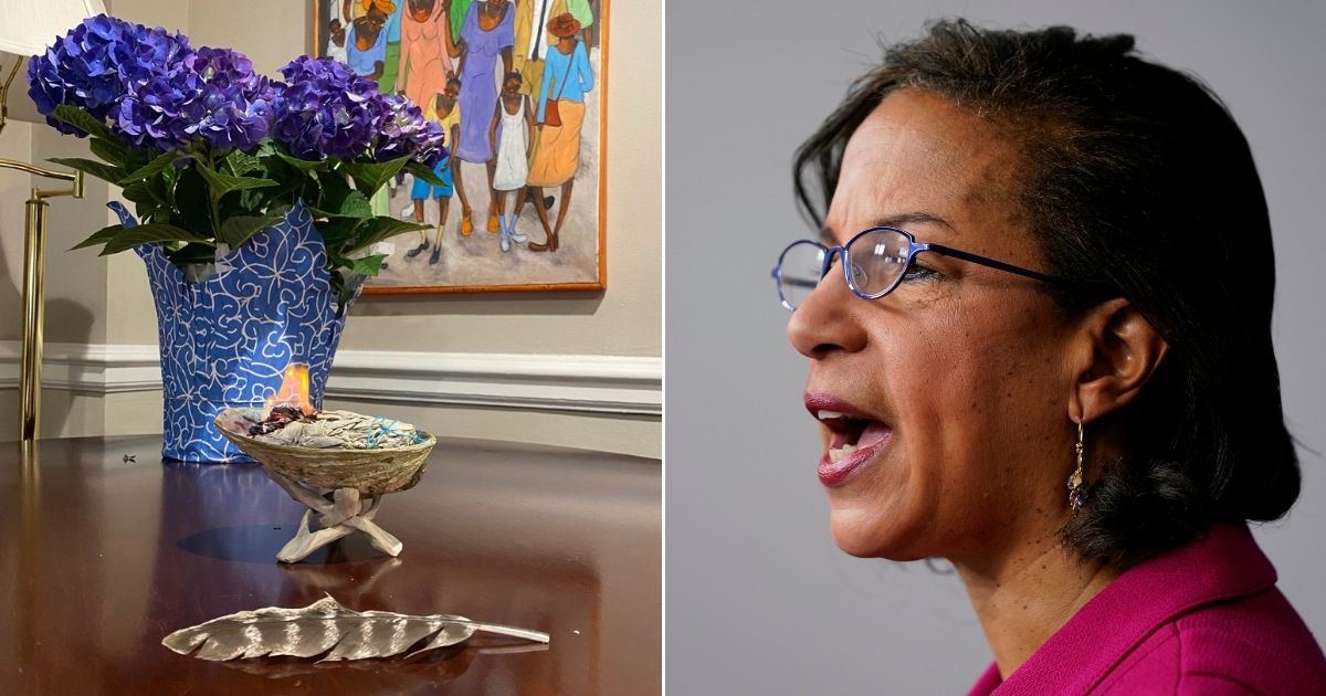 White House Domestic Policy Adviser Susan Rice, right, shared a photo of her sage-burning setup on Twitter.
