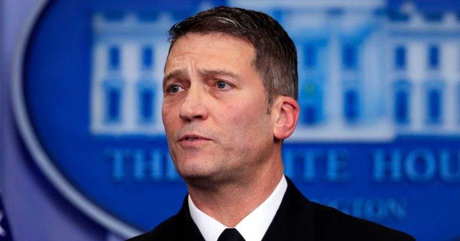 Then-White House physician Dr. Ronny Jackson speaks to reporters during a briefing at the White House in Washington Jan. 16, 2018.