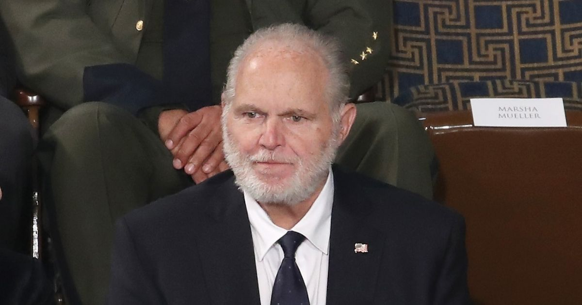 Radio personality Rush Limbaugh sits in the First Lady's box ahead of the State of the Union address in the chamber of the U.S. House of Representatives on Feb. 4, 2020, in Washington, D.C.