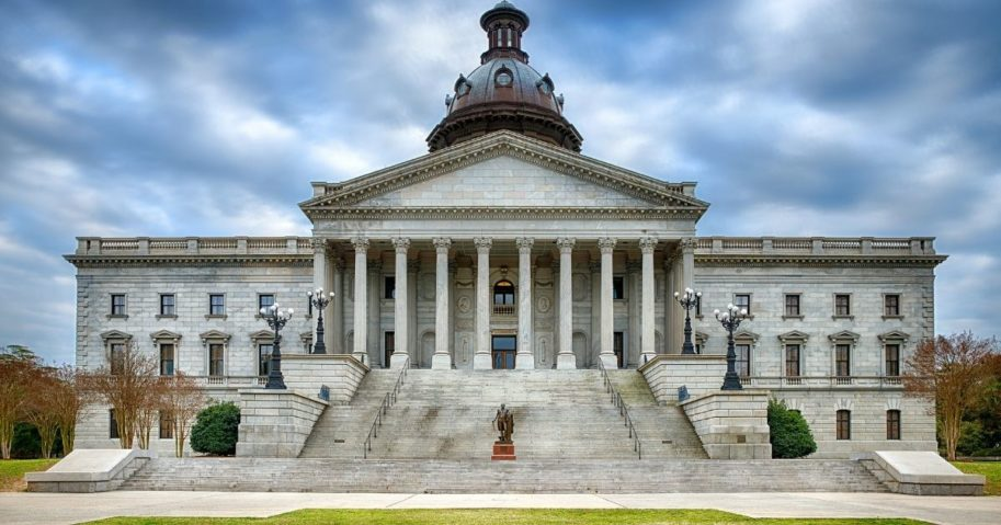 The South Carolina State House is pictured above.