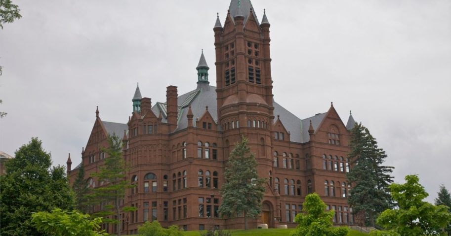 This stock photo shows Crouse College, the College of Visual and Performing Arts, at Syracuse University in Syracuse, New York.
