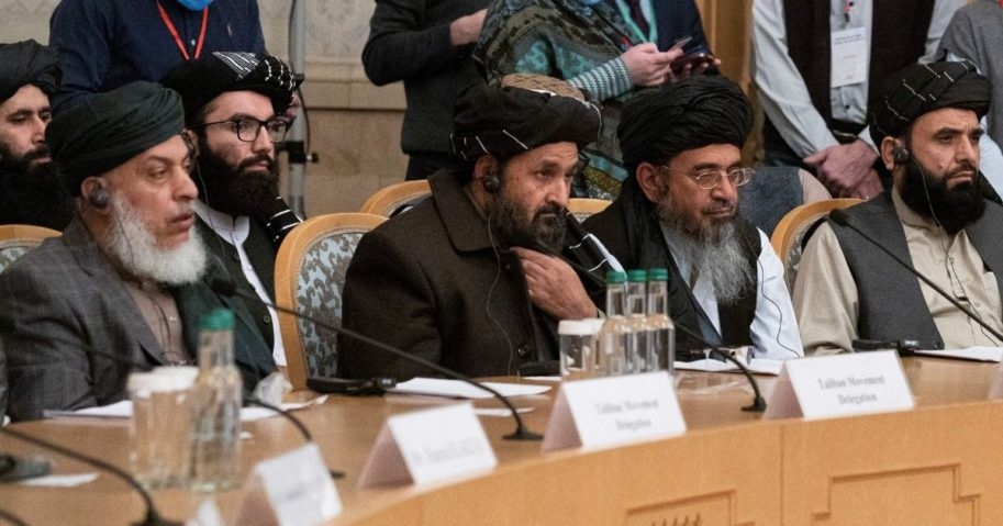 Taliban co-founder Mullah Abdul Ghani Baradar, center, and other members of the Taliban delegation attend an international conference in Moscow on a peaceful solution to the conflict in Afghanistan on March 18.