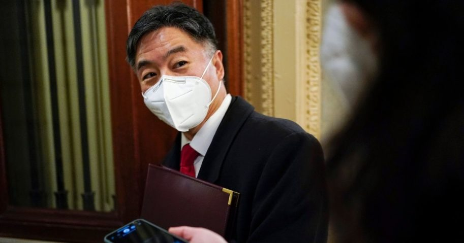 California Democratic Rep. Ted Lieu departs after the day's proceedings in the impeachment trial of former President Donald Trump at the U.S. Capitol on Feb. 10, 2021, in Washington, D.C.