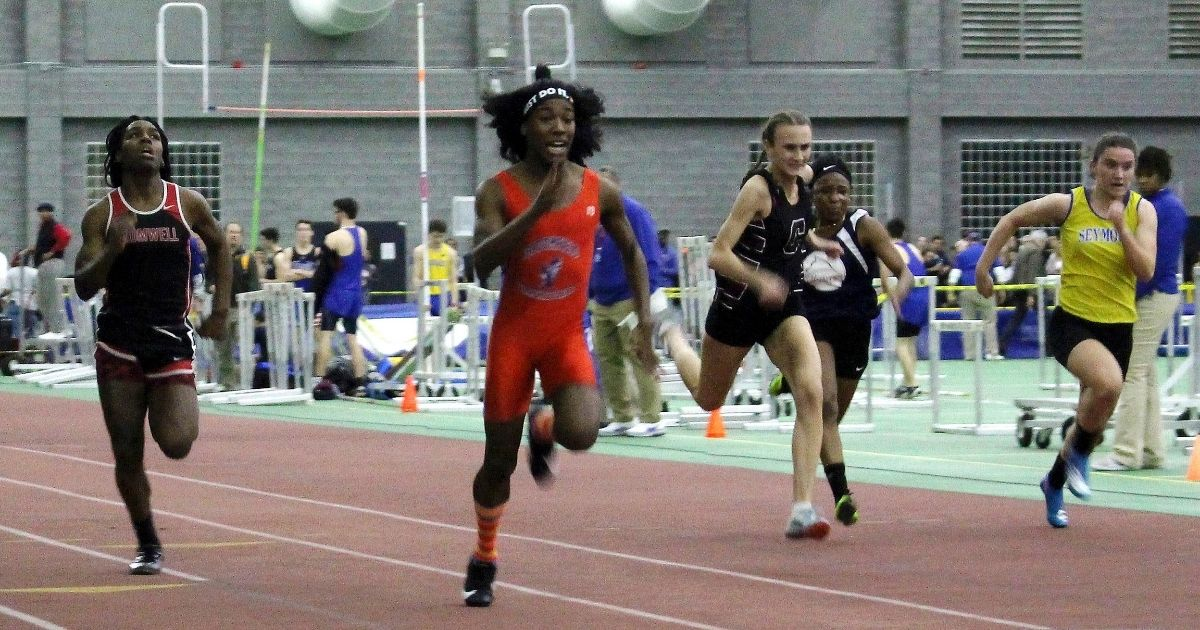 Bloomfield High School transgender athlete Terry Miller, second from left, wins the final of the 55-meter dash over fellow transgender athlete Andraya Yearwood, far left, and other runners in the Connecticut girls Class S indoor track meet at Hillhouse High School in New Haven on Feb. 7, 2019.