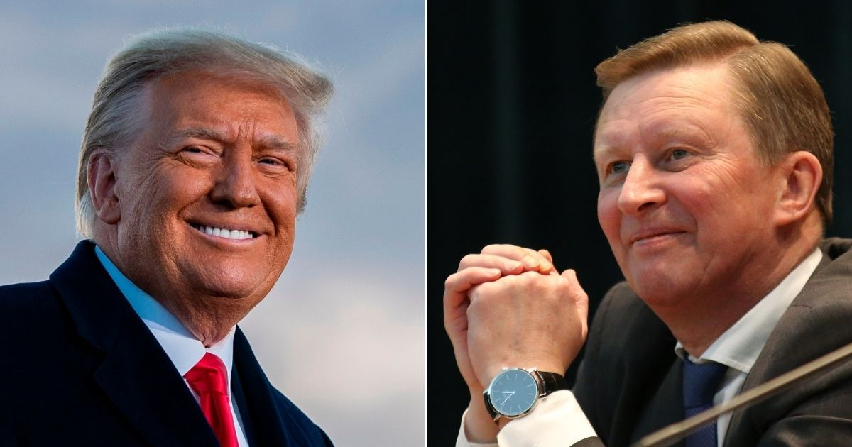 Left: President Donald Trump speaks at Joint Base Andrews in Maryland on Jan. 20. Right: Then-Russian Presidential Chief of Staff Sergei Ivanov speaks during a meeting in Moscow on Jan. 12, 2015.