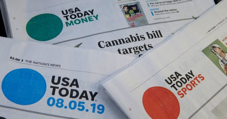 Sections of a USA Today newspaper rest together in Norwood, Massachusetts, on Aug. 5, 2019.