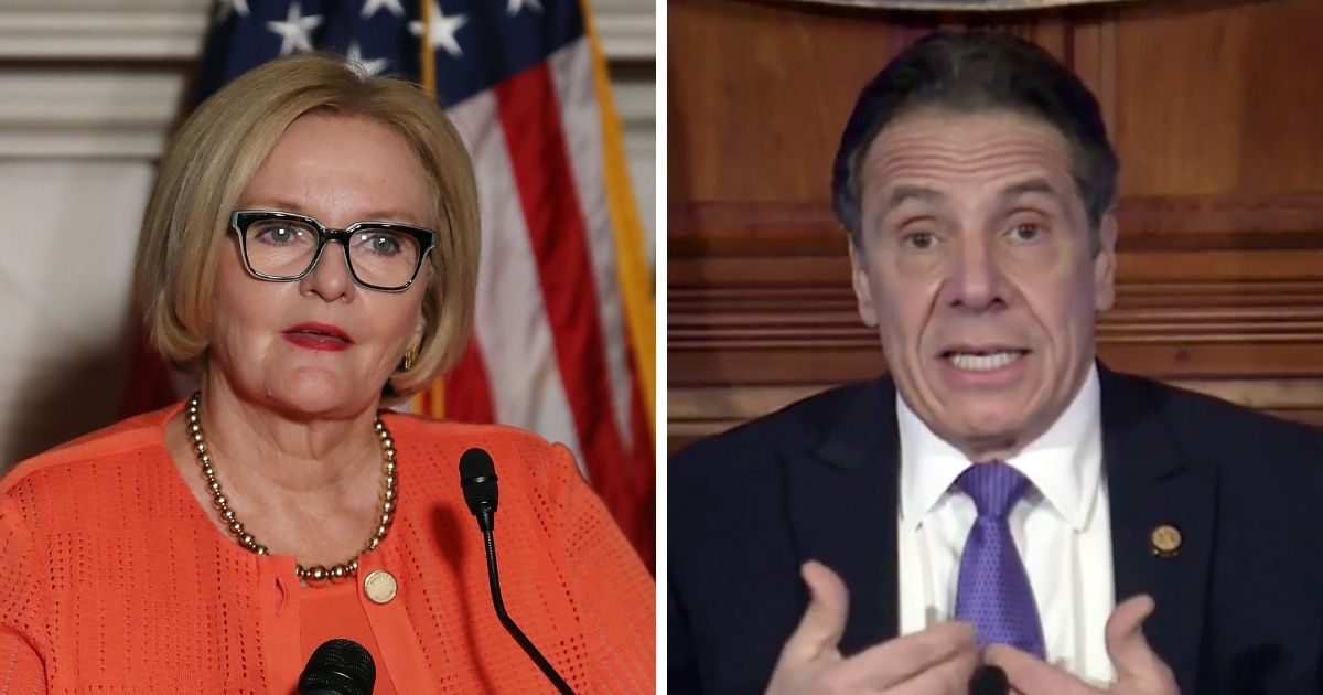 Former Missouri Sen. Claire McCaskill, left; and New York Gov. Andrew Cuomo, right.
