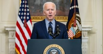 President Joe Biden speaks at the White House on Saturday.