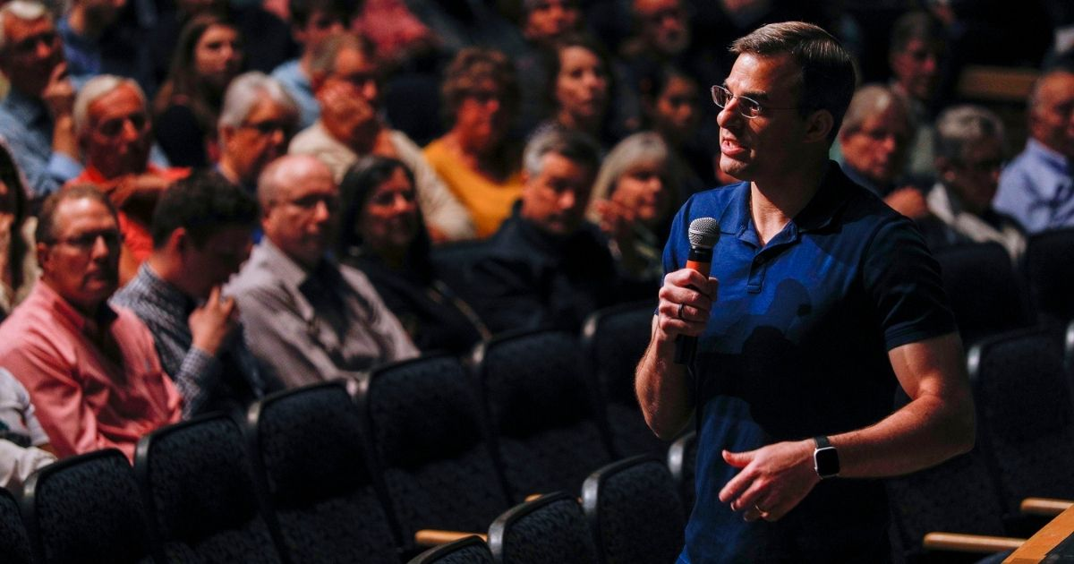 Then-U.S. Rep. Justin Amash, a Republican from Michigan, holds a Town Hall meeting on May 28, 2019, in Grand Rapids.