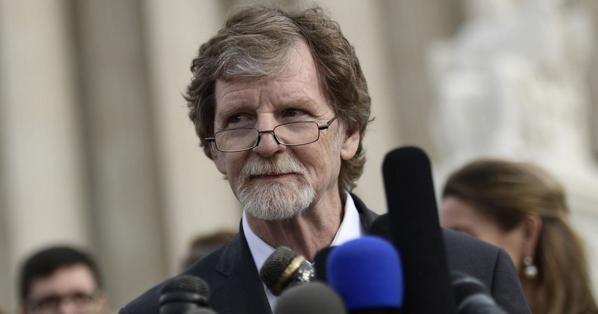 Jack Phillips, owner of Masterpiece Cakeshop in Lakewood, Colorado, speaks to reporters outside the Supreme Court in December 2017.