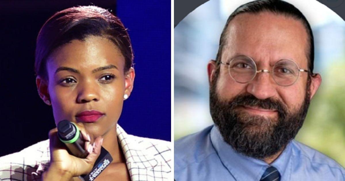Conservative commentator Candace Owens, left; Chapman University professor William O'Mara right.
