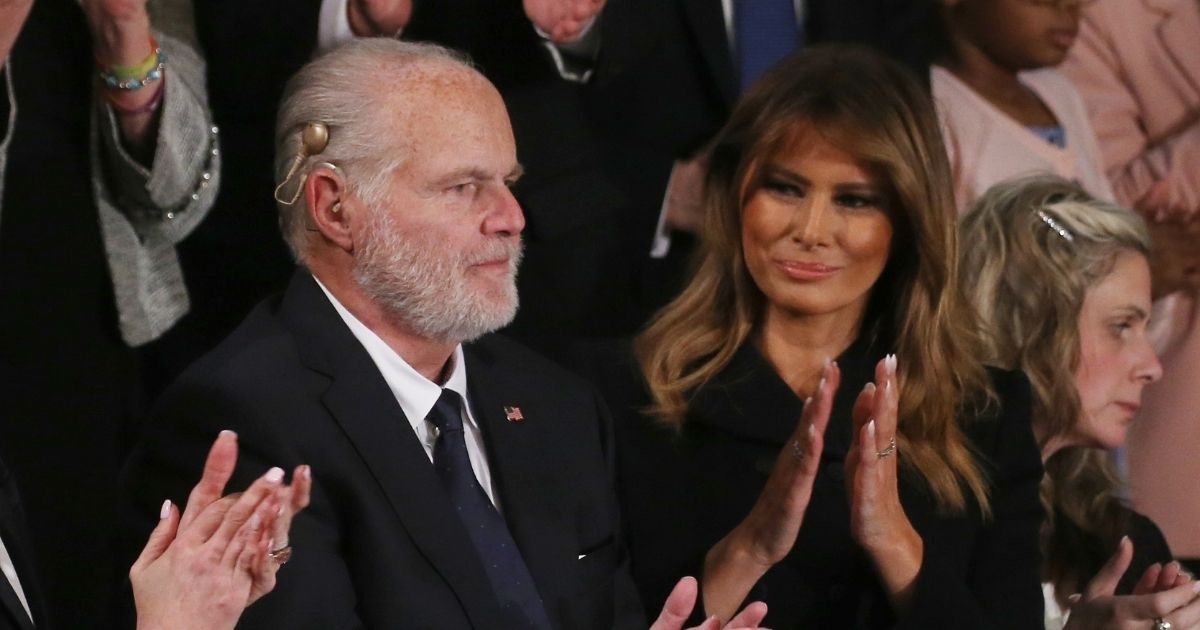 The late Rush Limbaugh with former first lady Melania Trump, in a file photo from February 2020.