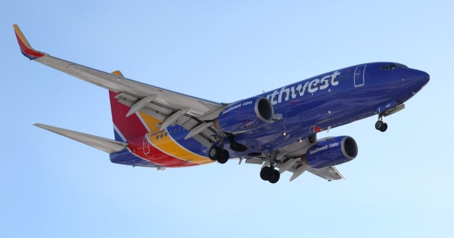 A Southwest Airlines jet prepares to land at Midway International Airport in Chicago on Jan. 28, 2021. About six weeks later, while taxiing at Mineta San Jose International Airport in California, an unidentified Southwest pilot made an anti-liberal rant that was recorded.