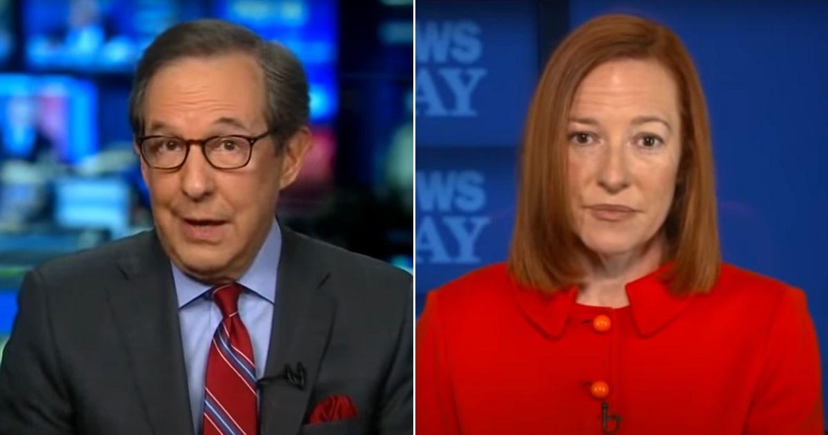 Fox News host Chris Wallace interviews White House press secretary Jen Psaki on Sunday.