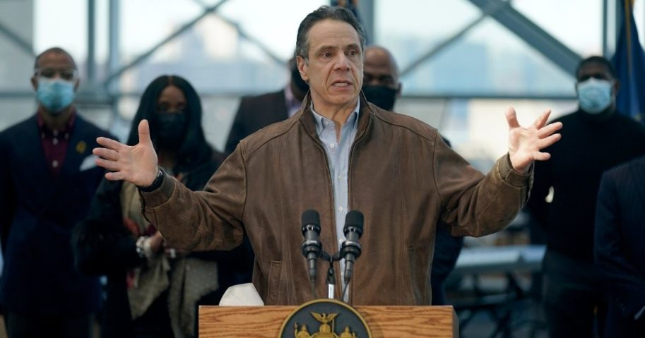 New York Gov. Andrew Cuomo speaks at the Jacob K. Javits Convention Center on March 8, 2021, in New York City.