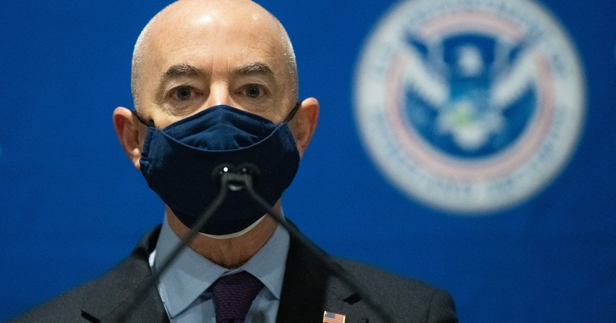 Secretary of Homeland Security Alejandro Mayorkas delivers remarks at a vaccination center on March 2, 2021, in Philadelphia, Pennsylvania.