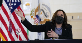 Vice President Kamala Harris speaks at the Boys & Girls Club of New Haven, Connecticut, on March 26, 2021.