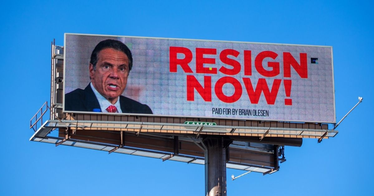 A billboard urging New York Gov. Andrew Cuomo to resign is seen on March 2, 2021, in Albany, New York.
