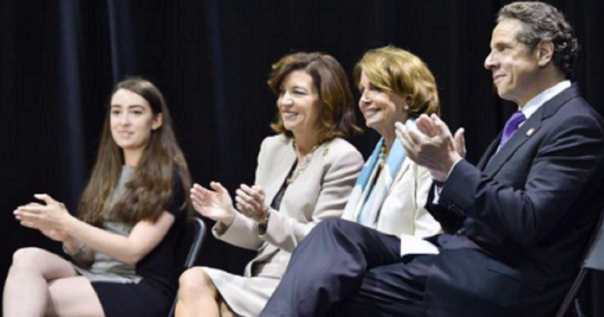 Then-House Minority Leader Nancy Pelosi, third from left, with New York Gov. Andrew Cuomo, left, at an event in 2015.