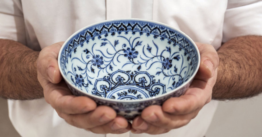 This photo provided by Sotheby's on March 2, 2021, shows a small porcelain bowl bought for $35 at a Connecticut yard sale that turned out to be a rare, 15th-century Chinese artifact worth between $300,000 and $500,000.