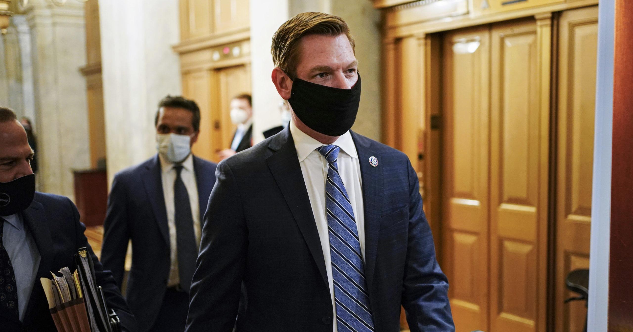Democratic Rep. Eric Swalwell walks through the Capitol in Washington, D.C., on Feb. 10, 2021.