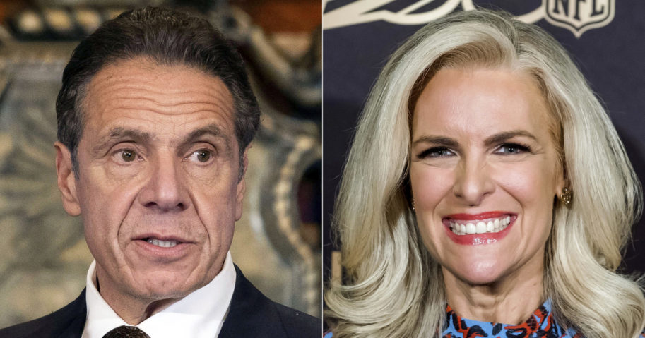"""New York Gov. Andrew M. Cuomo, left, appears during a news conference about the COVID-19 vaccine at the State Capitol in Albany, New York, on Dec. 3, 2020, left, and Fox News' Janice Dean attends a screening of """"A Lifetime of Sundays"""" in New York on Sept. 18, 2019."""