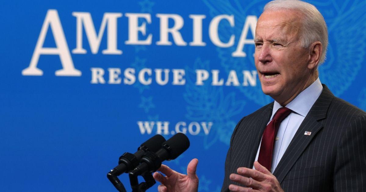 President Joe Biden speaks in the Eisenhower Executive Office Building on Feb. 22, 2021, in Washington, D.C.