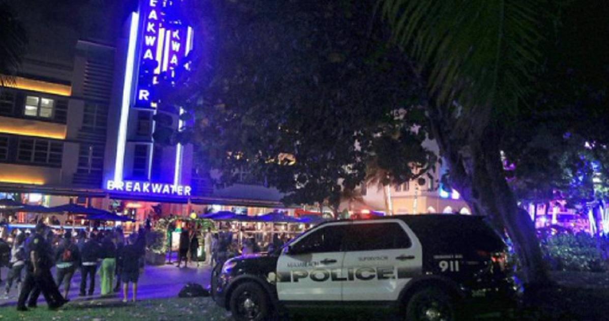 A crowded street in Miami Beach.