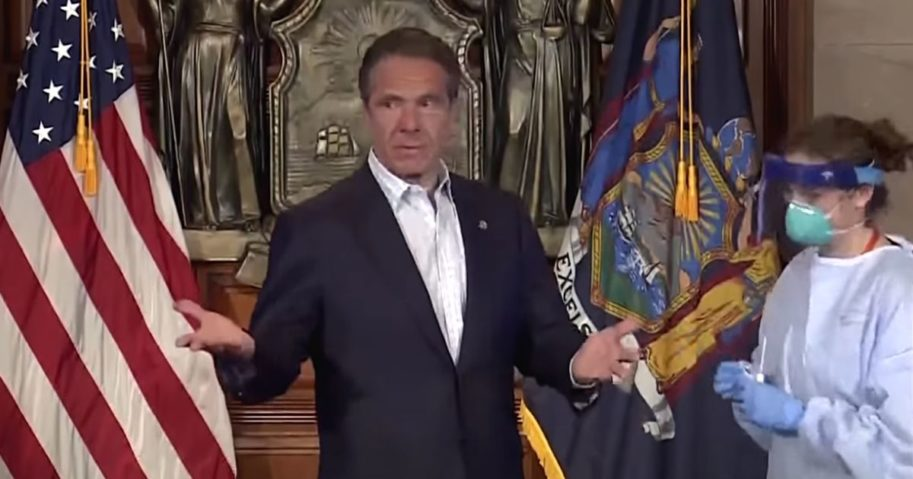 New York Gov. Andrew Cuomo receives a COVID test in 2020.