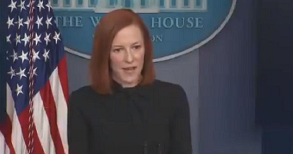 White House press secretary Jen Psaki fields a question at Monday's news briefing.