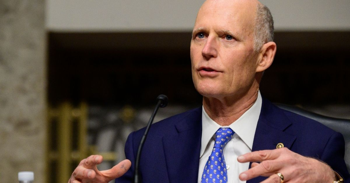 Sen. Rick Scott speaks during a Senate Homeland Security and Governmental Affairs and Senate Rules and Administration committees joint hearing on Capitol Hill in Washington, D.C., on Feb. 23, 2021.