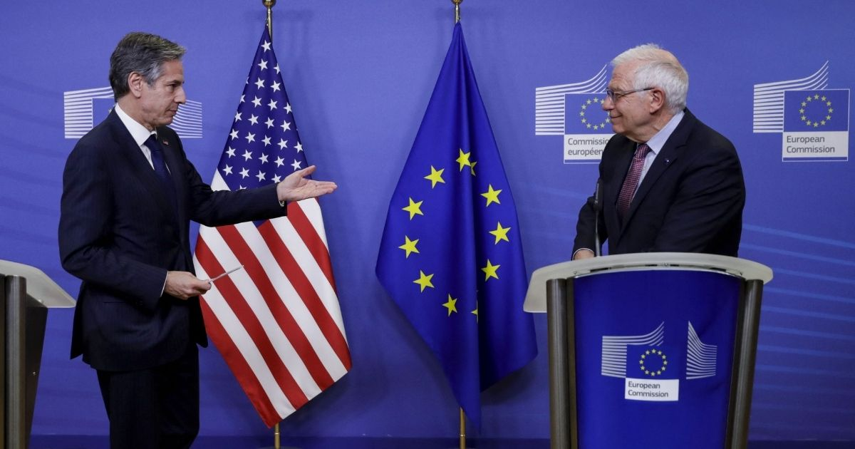 US Secretary of State Antony Blinken, left, and European High Representative of the Union for Foreign Affairs Josep Borrell speak as they arrive to give a news conference ahead of their meeting at the EU headquarters in Brussels on March 24, 2021. (
