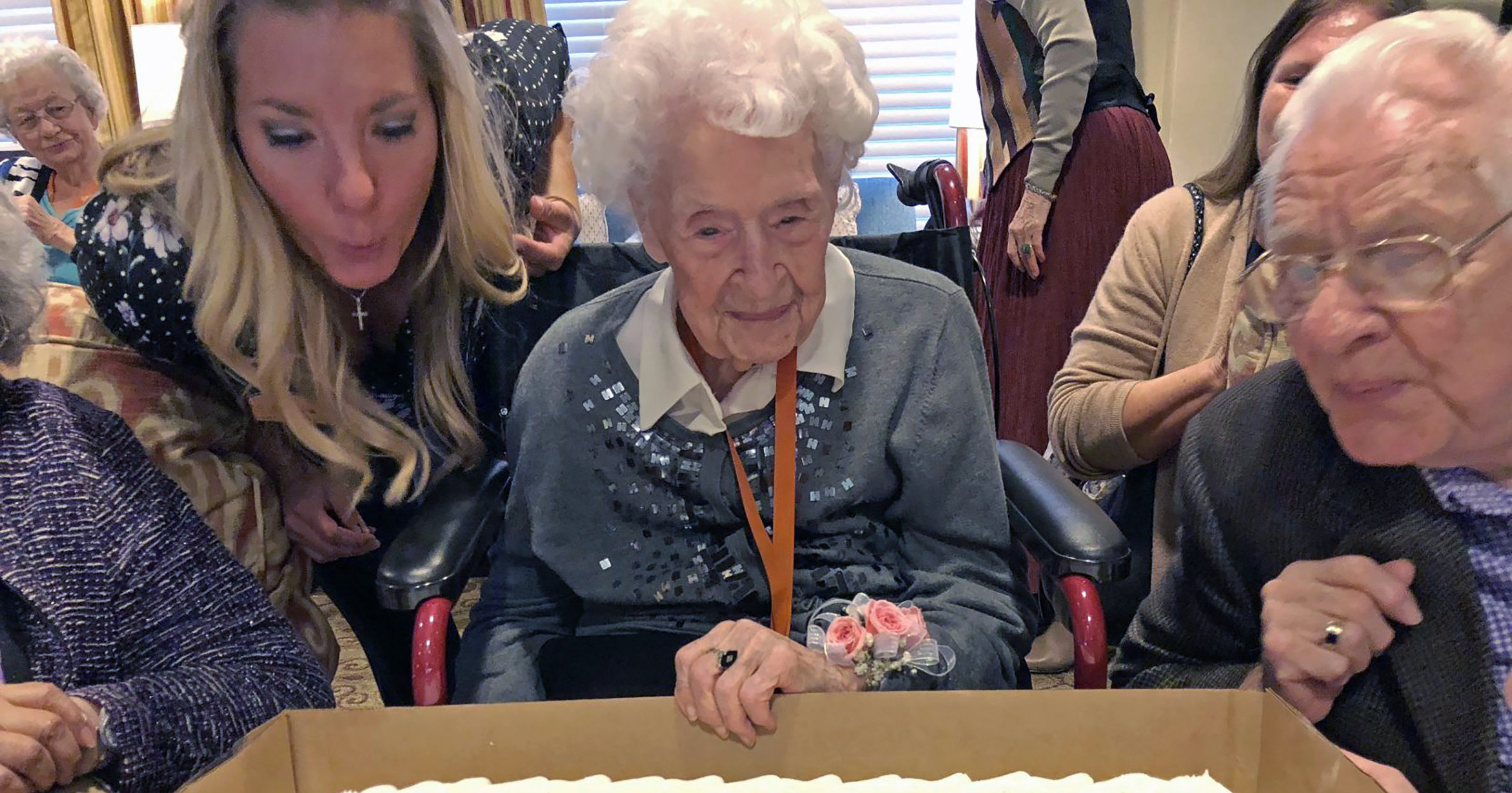 Thelma Sutcliffe is shown with a birthday cake in October 2019 in Omaha, Nebraska.