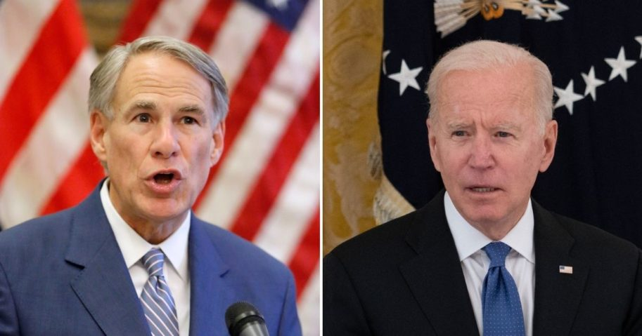 Republican Gov. Greg Abbott of Texas, left, called for the federal government under President Joe Biden to pay for costs incurred to protect the state from the flooding in of illegal immigrants.