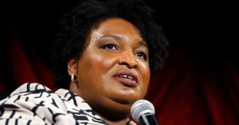 Stacey Abrams speaks at the Weylin in Brooklyn, New York, on Oct. 18, 2019.