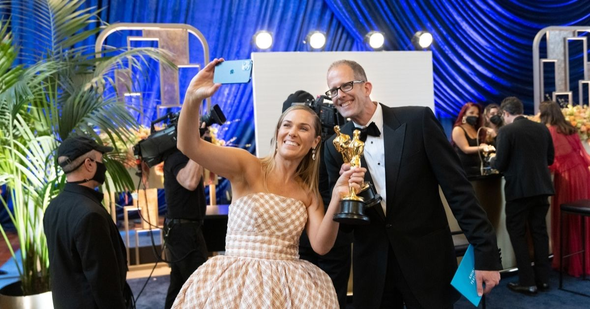 In this handout photo provided by A.M.P.A.S., Dana Murray and Pete Docter attend the 93rd annual Academy Awards at Union Station on Sunday in Los Angeles.