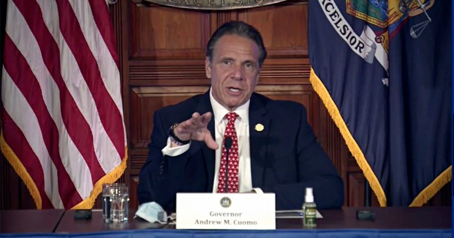 In this image taken from video, Democratic New York Gov. Andrew Cuomo speaks during a news conference about the state budget on Wednesday in Albany, New York.