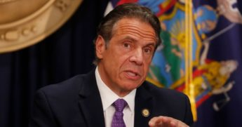 New York Gov. Andrew Cuomo speaks during a news conference about the state's response to the coronavirus pandemic on Monday in New York City.