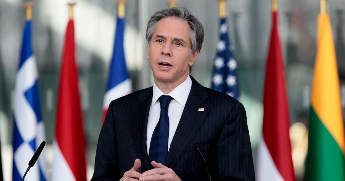 Secretary of State Antony Blinken speaks after a meeting of NATO foreign ministers at NATO headquarters in Brussels on March 24, 2021.
