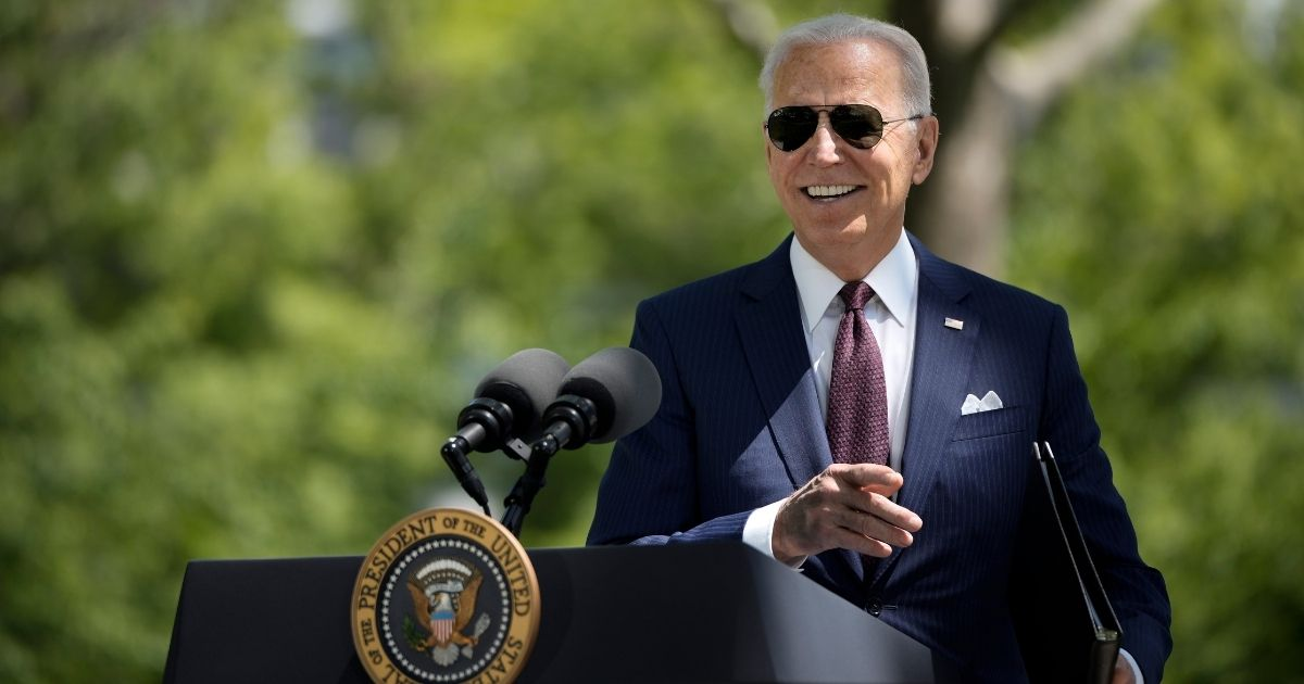 President Joe Biden speaks about updated CDC mask guidance on the North Lawn of the White House on Tuesday in Washington, D.C.