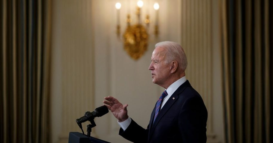 President Joe Biden speaks about the March jobs report in the State Dining Room of the White House on April 2 in Washington, D.C.