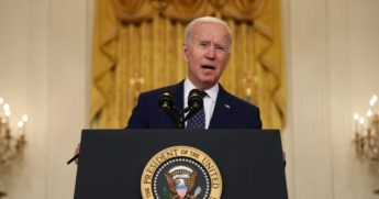 President Joe Biden announces new economic sanctions against the Russia government from the East Room of the White House on April 15 in Washington, D.C.