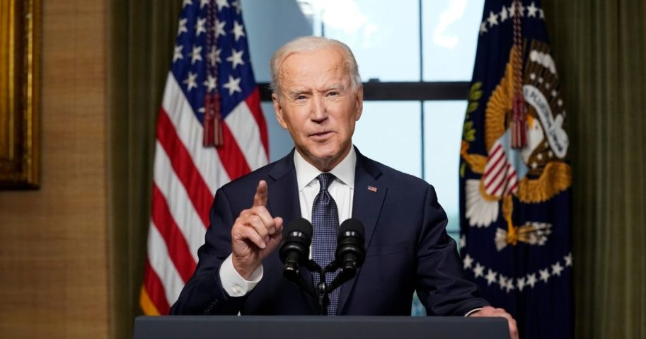 President Joe Biden speaks from the Treaty Room in the White House about the withdrawal of U.S. troops from Afghanistan on Wednesday in Washington, D.C.