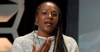 Bree Newsome speaks at the Austin Convention Center during SXSW in Austin, Texas, on March 13, 2018.